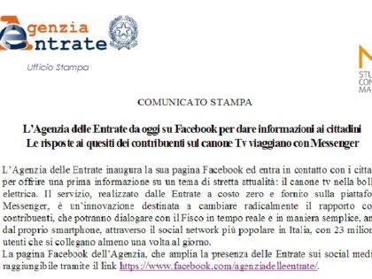 L'Agenzia delle Entrate sbarca su Facebook